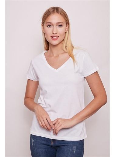 Jument Pamuklu V Yaka Kısa Kol  Tshirt -Beyaz Beyaz